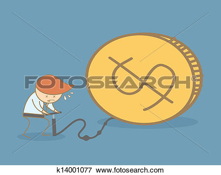 Clip Art of business man pump up money k14001077.