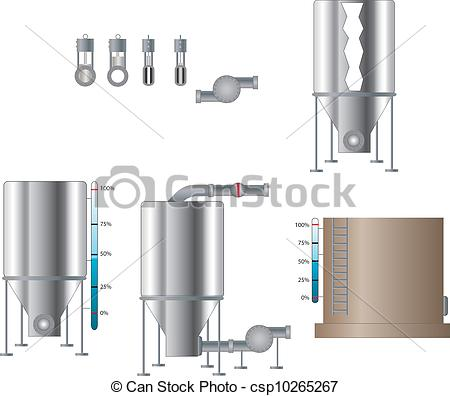 Clip Art Vector of Tanks and Valves.