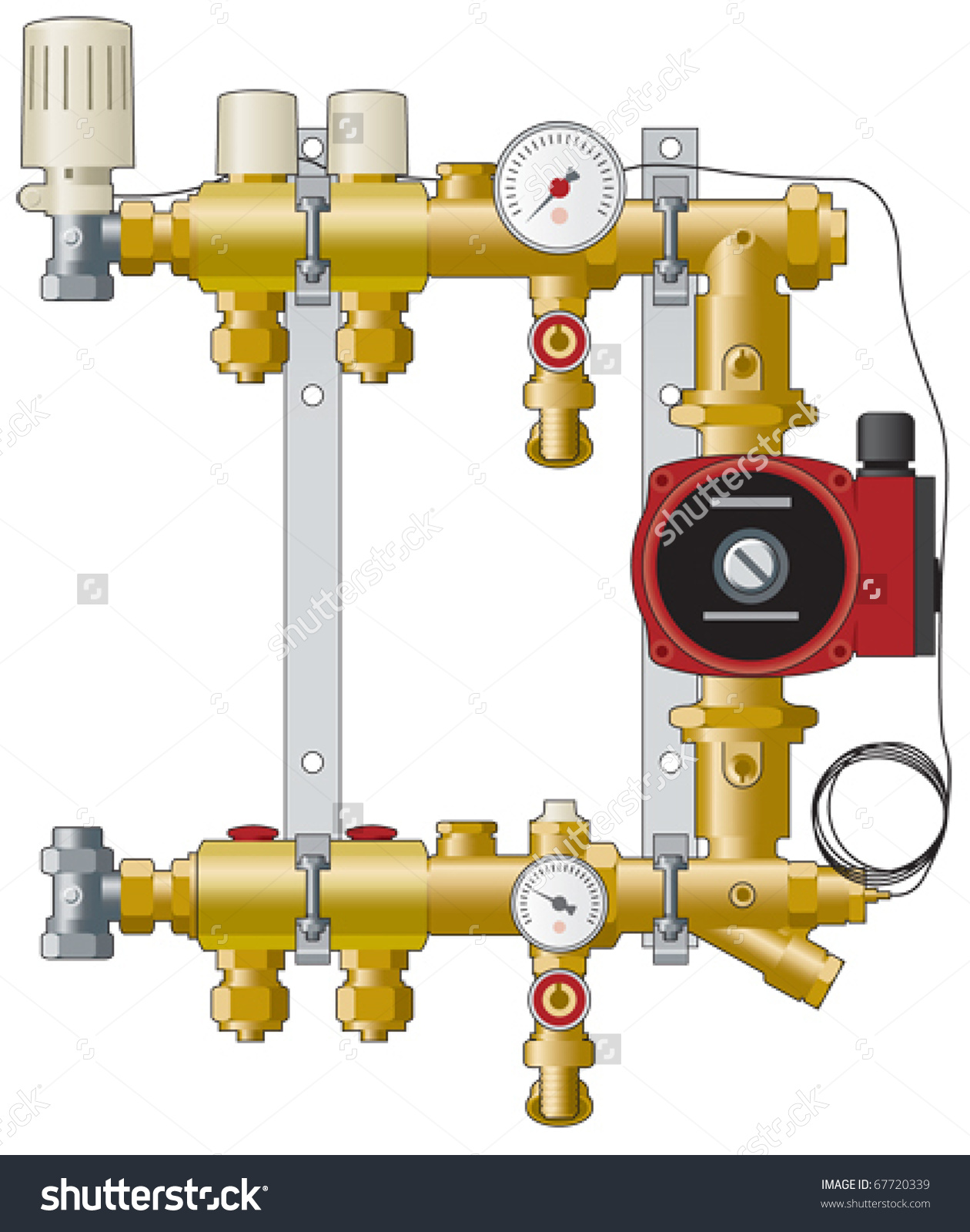 Central Heating Manifold Pipework And Pump Stock Vector 67720339.