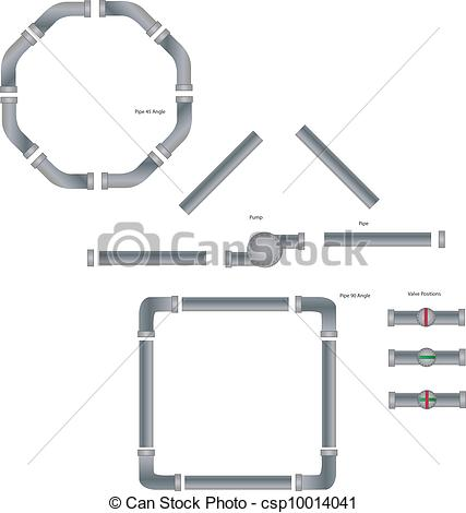 EPS Vector of Industrial Pipe Set.