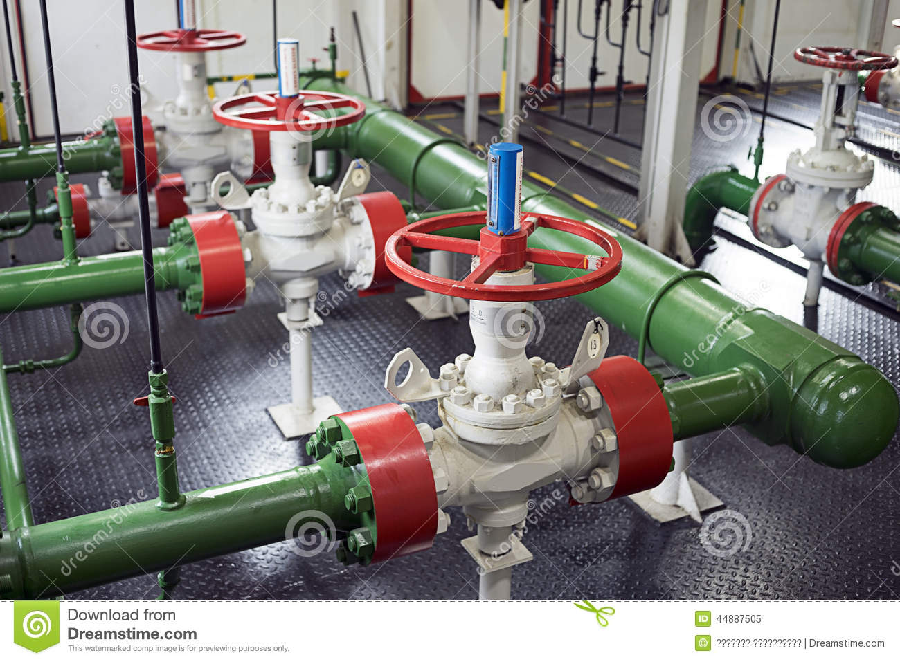 Pipeline Valves In Pump Station Stock Photo.