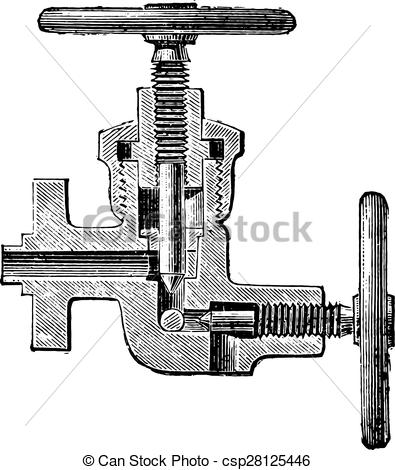 EPS Vector of Hydraulic pump with discharge valve, vintage.