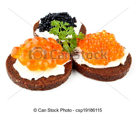 Stock Photography of Pumpernickel bread with salmon, trout and.