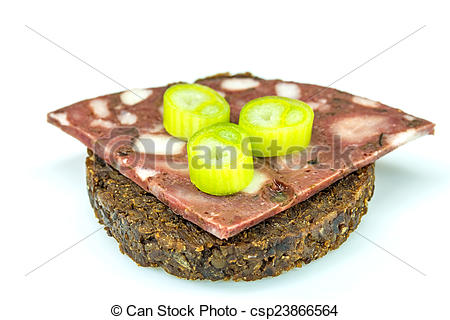 Stock Image of Pumpernickel with blood sausage csp23866564.