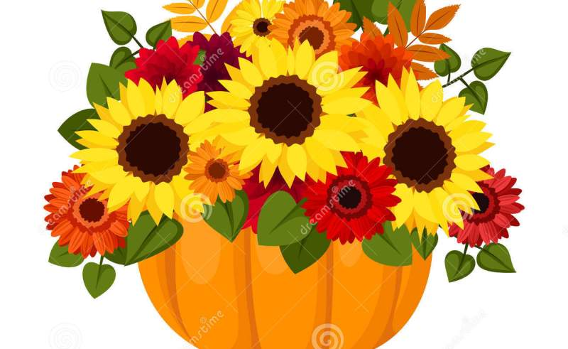 Ivy And Sunflowers Clip Art.