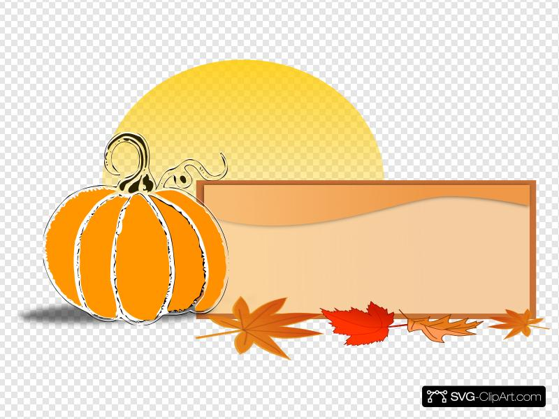 Pumpkin Sign Banner Clip art, Icon and SVG.