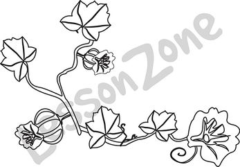 Flower Black And White Pumpkin Clipart.