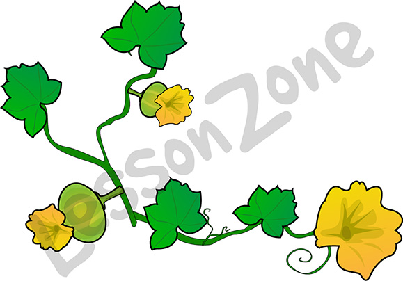 Pumpkin with flowers clipart.