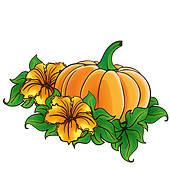 Pumpkin Flower Clip Art.