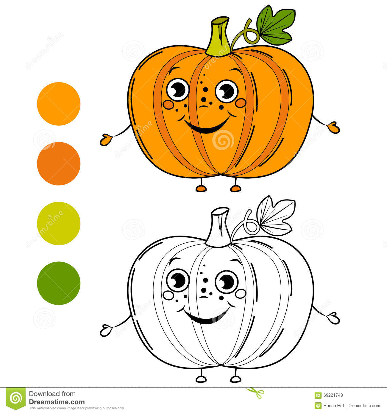 Pumpkin. Coloring Book Page Stock Vector.