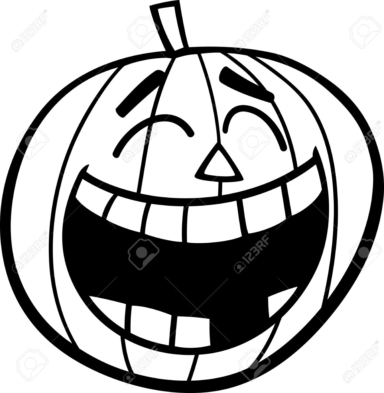 Black And White Cartoon Illustration Of Laughing Halloween Pumpkin.