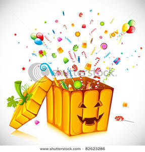 Picture: Halloween Candy Bursting Out of a Pumpkin Box.