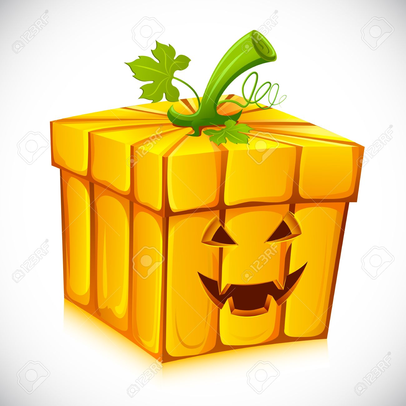 Illustration Of Pumpkin Shape Gift Box For Halloween Stock Photo.