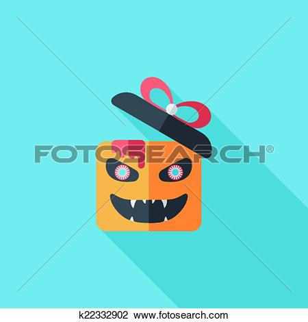 Clipart of Halloween pumpkin shaped box flat icon with long shadow.