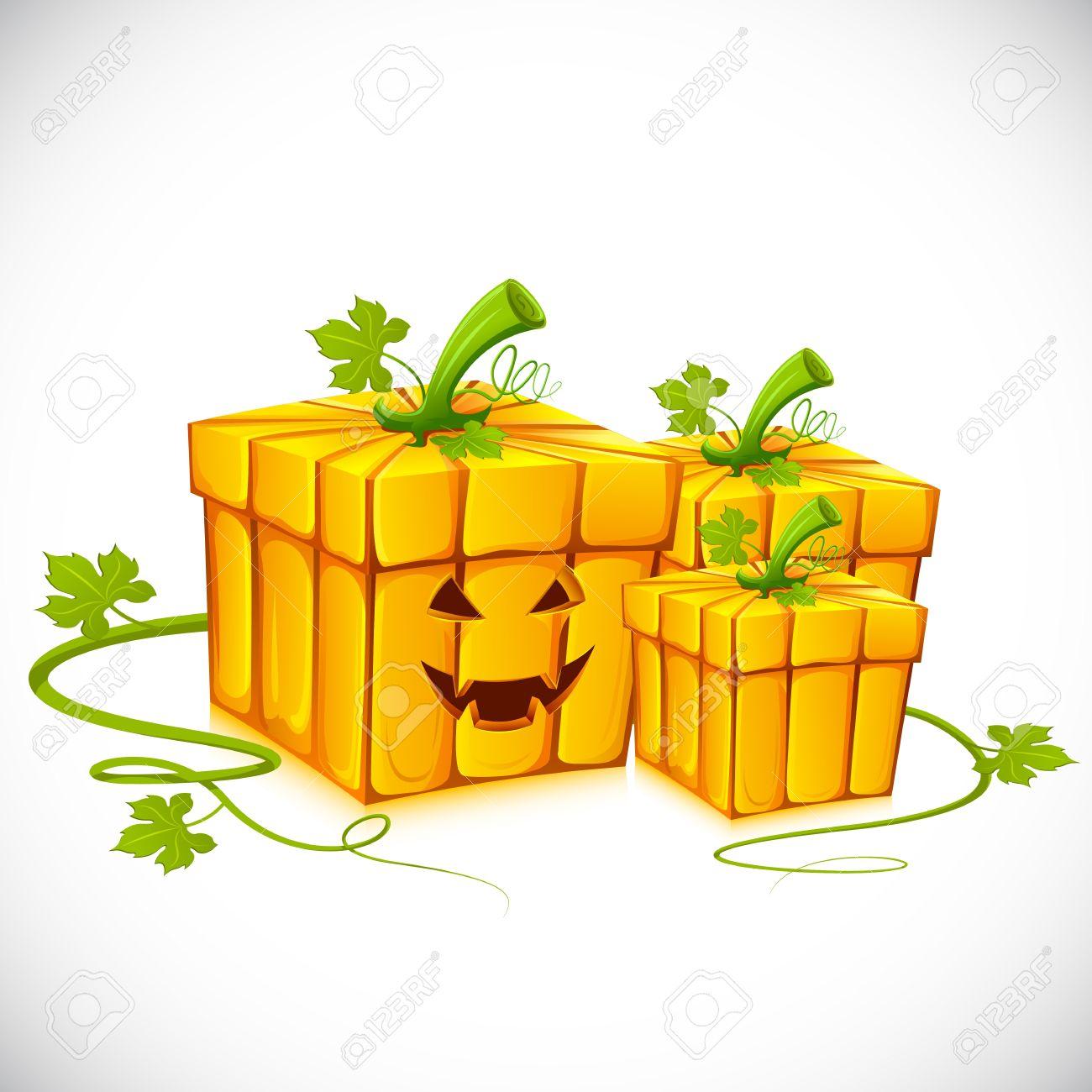 Illustration Of Pumpkin Shape Gift Box For Halloween Royalty Free.
