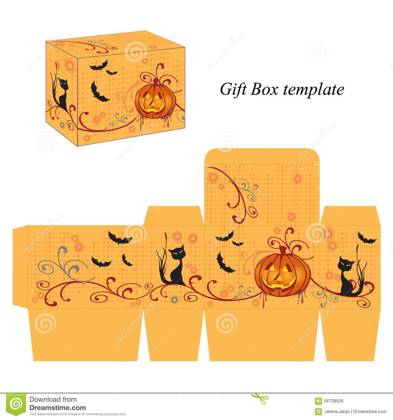 Halloween Box Template With Pumpkin, Black Cat And Bats Stock.