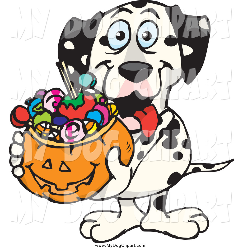 Clip Art of a Dalmatian Dog Holding a Pumpkin Basket Full of.