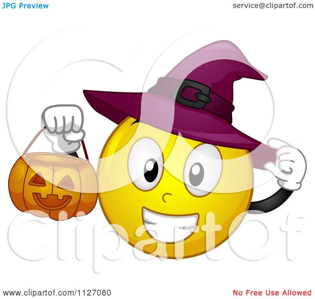 Cartoon Of A Halloween Witch Emoticon Holding A Pumpkin Bucket.