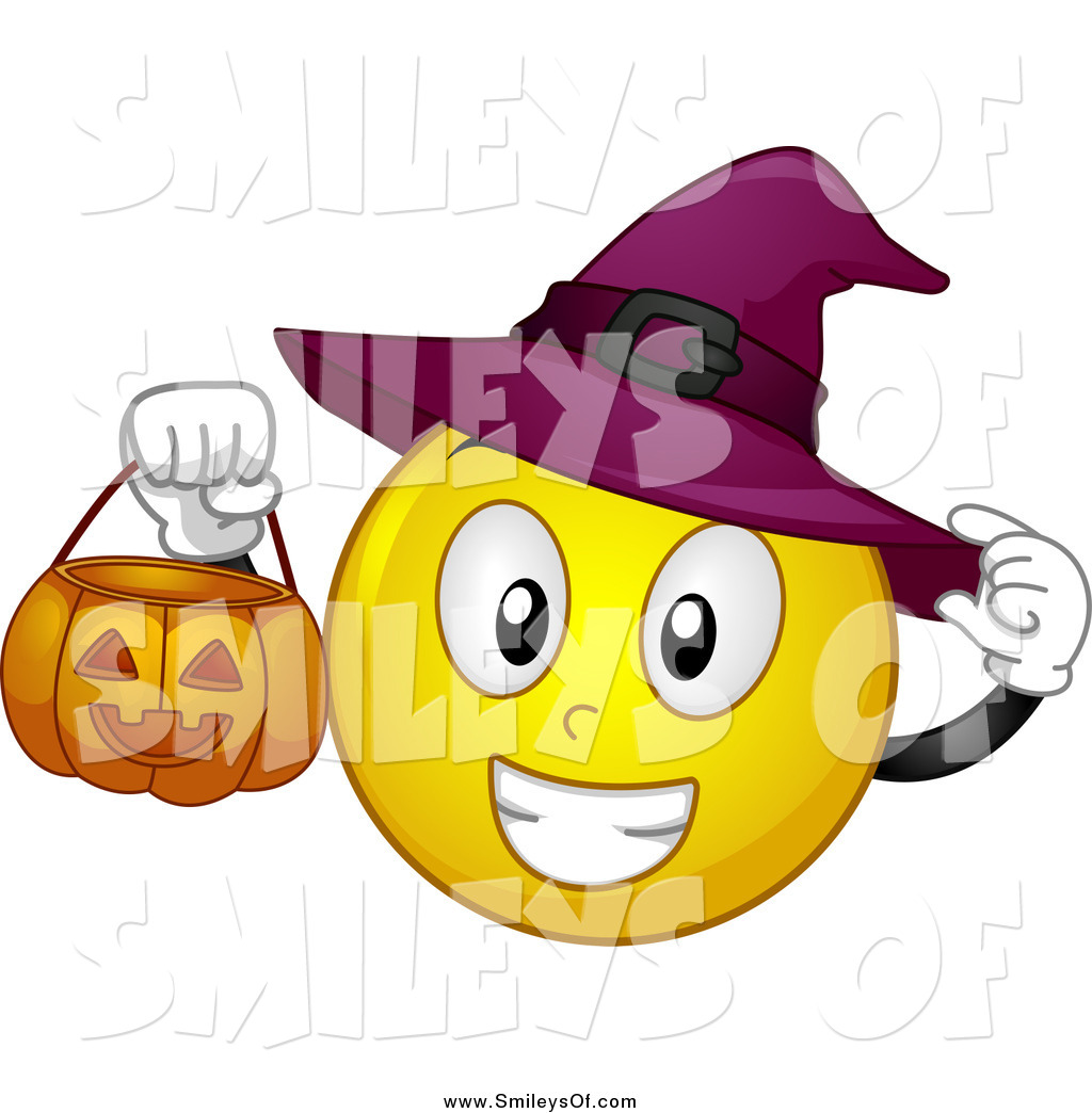 Vector Clipart of a Halloween Witch Smiley Holding a Pumpkin.