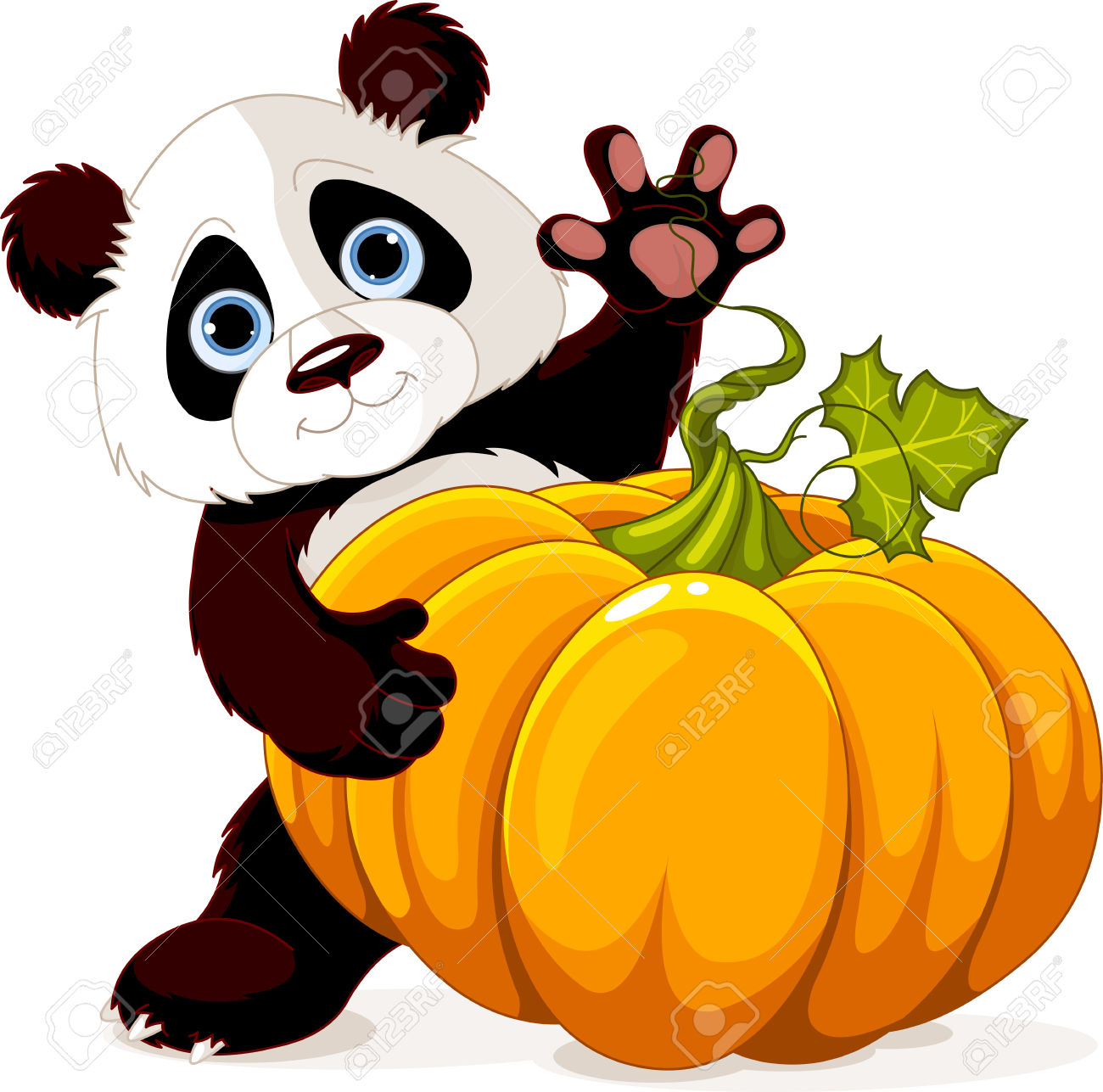 Cute Little Panda Holding Giant Pumpkin Royalty Free Cliparts.