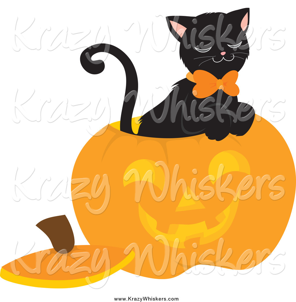Critter Clipart of a Black Cat Inside a Carved Halloween.
