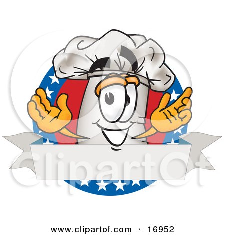 Clipart Picture of a Chefs Hat Mascot Cartoon Character With a.