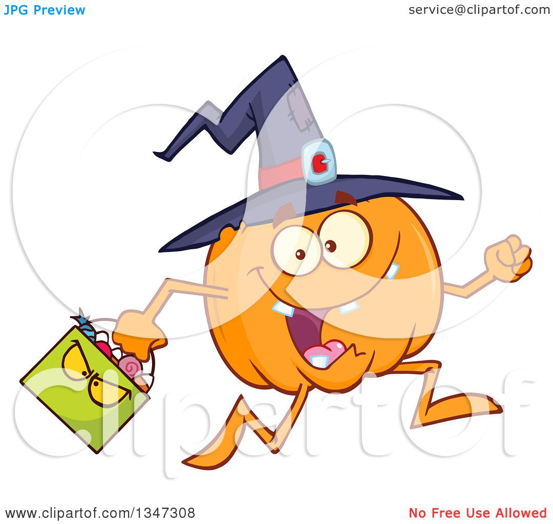 Clipart of a Cartoon Halloween Pumpkin Character Wearing a Witch.