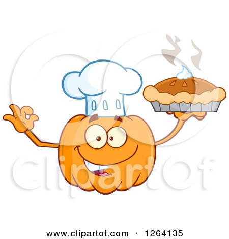 Clipart of a Happy Pumpkin Chef Character Holding up a Pie.
