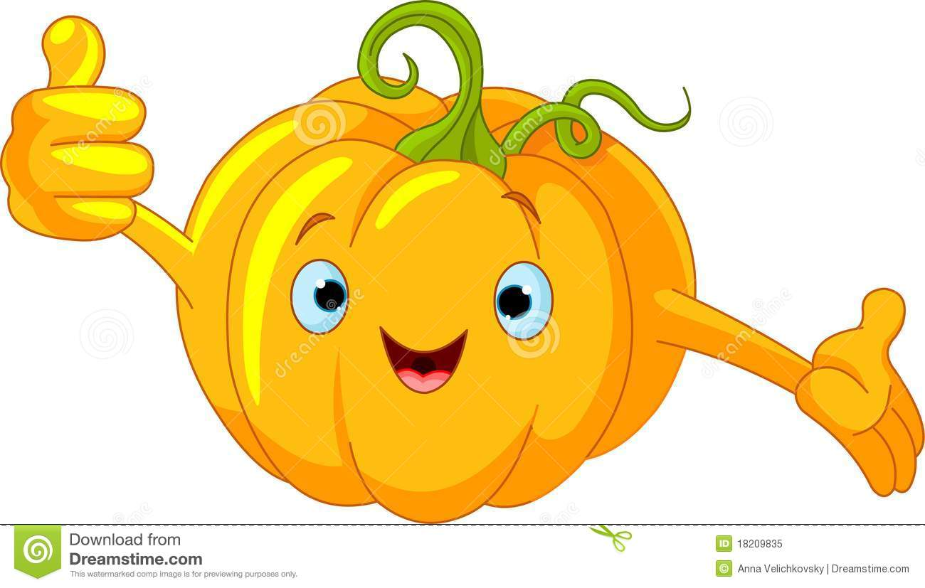 Pumpkin Character Giving Thumbs Up Royalty Free Stock Photo.
