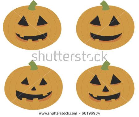Halloween Pumpkin Jackolantern Fully Editable Vector Stock Vector.