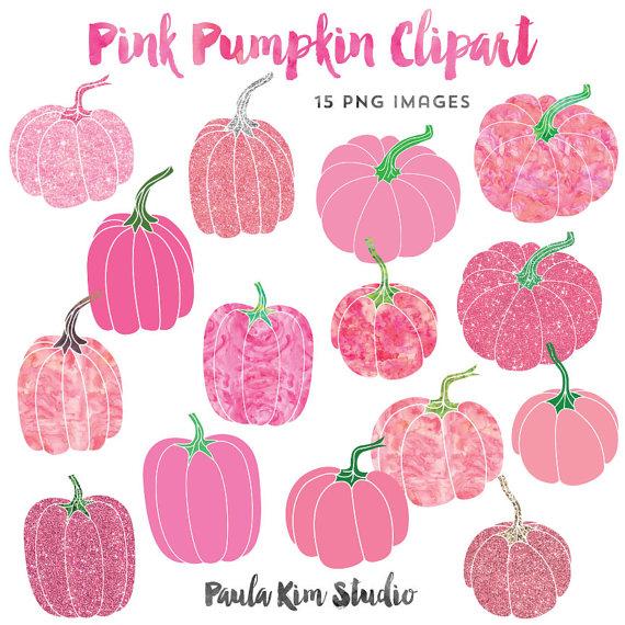 Pink Pumpkin Clipart, Watercolor and Glitter Clip Art, Clipart.