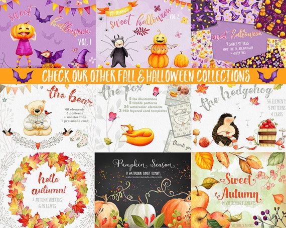 Fox clipart, Autumn clipart, Fall clipart, Pumpkin clipart, card.