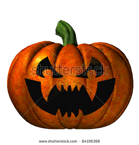 Halloween Pumpkin With Jack O'Lantern Carved Scary Face. Isolated.