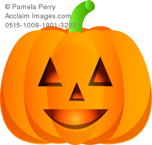 Clip Art Image of a Glowing Jack O' Lantern Pumpkin.