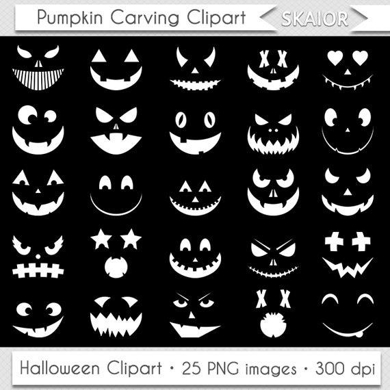 White Pumpkin Clipart Halloween Clipart Pumpkin Carving Stencil.