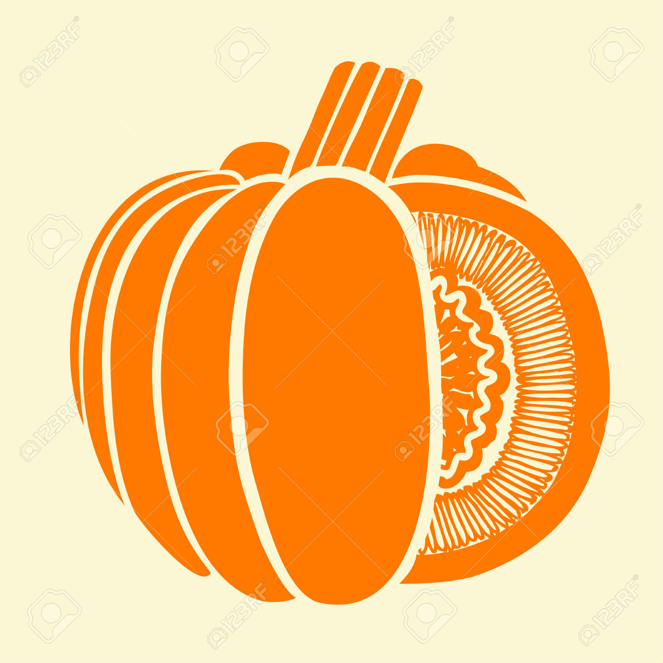 Pumpkin Isolated Drawing. Vector Illustration From Trace Contour.