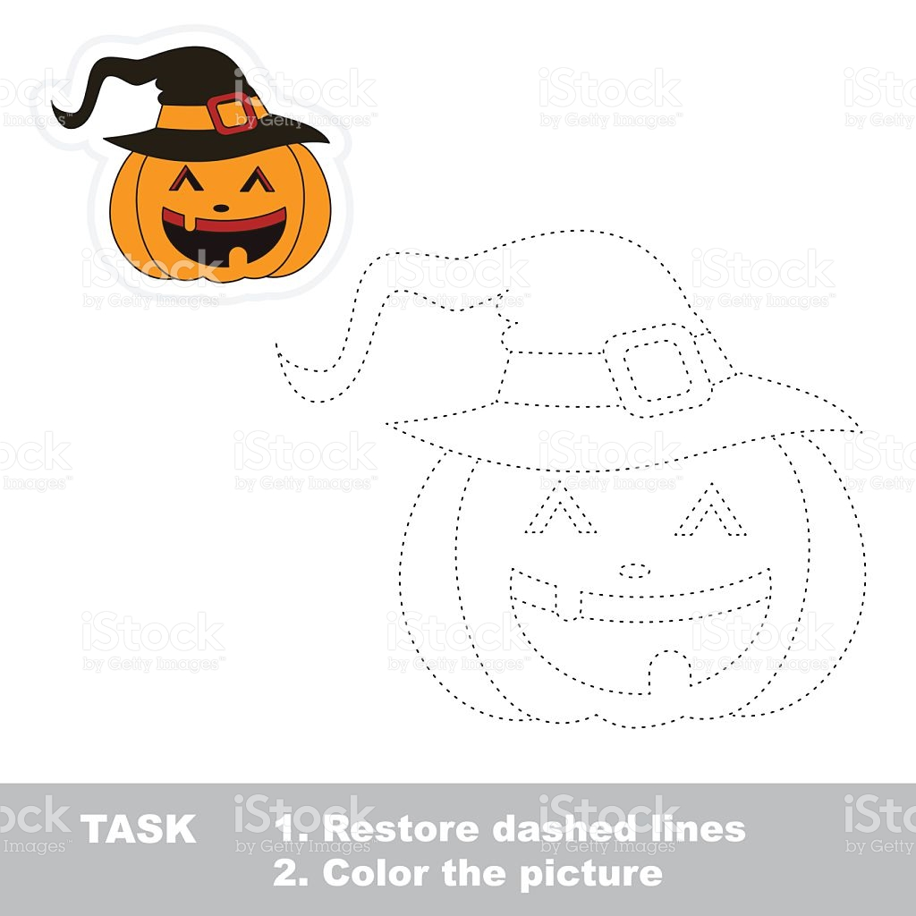 Vector Trace Game Halloween Pumpkin To Be Traced stock vector art.