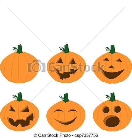 Clip Art Vector of Pumpkin Faces.
