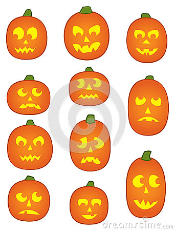 Eleven Pumpkin Faces Stock Image.