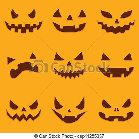 Vector Clipart of Scary faces of Halloween pumpkin. Vector.