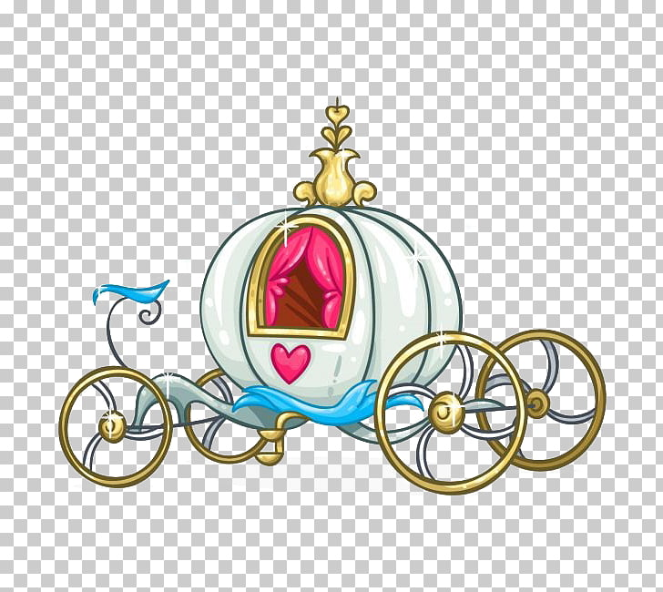 Cinderella , Cartoon gilded pumpkin carriage, white and.