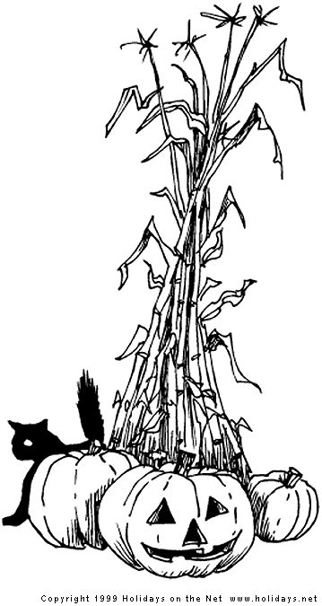 Pumpkin Corn Stalks Hay Mums Clipart Black And White