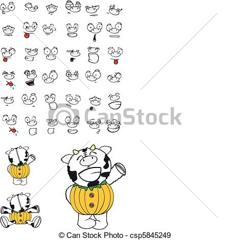 EPS Vectors of cow pumpkin cartoon in vector format csp5845249.
