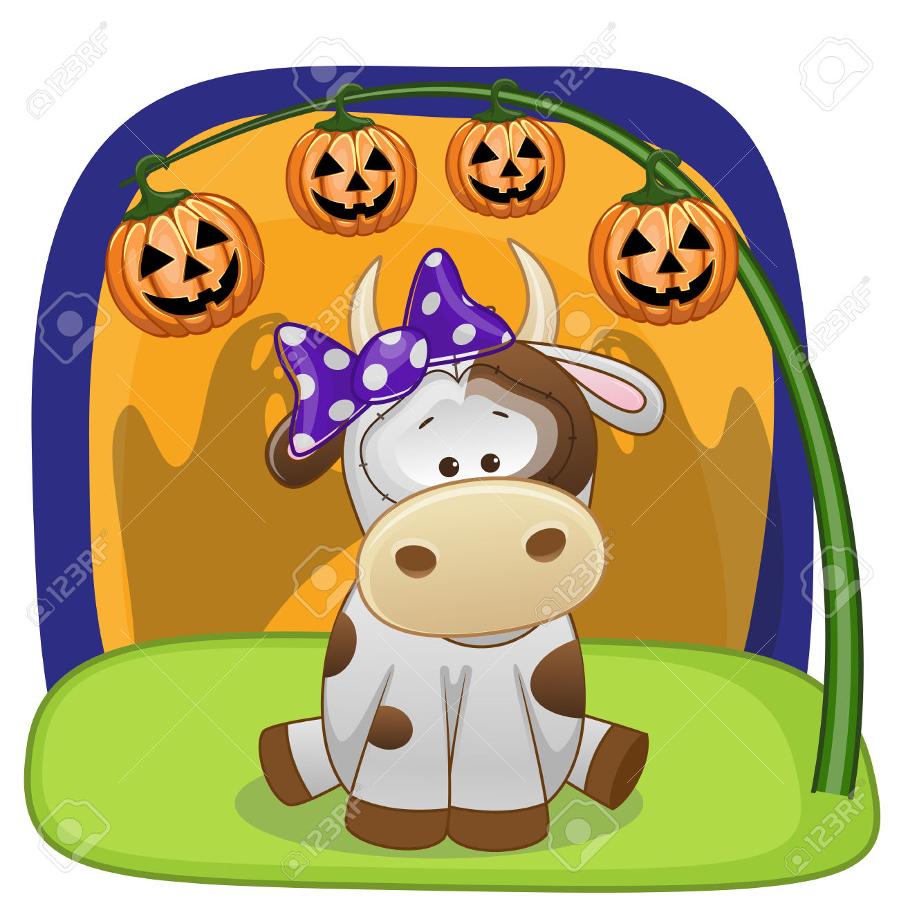 Halloween Illustration Of Cartoon Cow With Pumpkin Royalty Free.