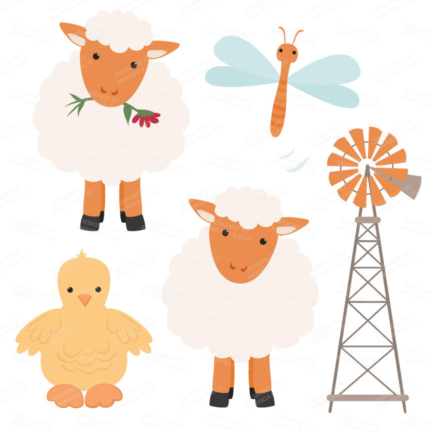 Farm Animals Clipart in Pumpkin.