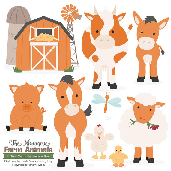Premium Pumpkin Farm Animals Clip Art & Vectors by AmandaIlkov.