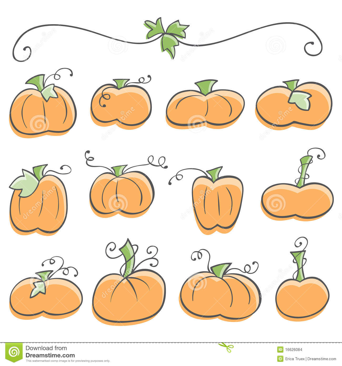 Doodle Pumpkin Elements Stock Images.