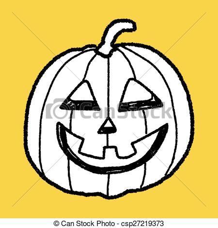 Vectors Illustration of pumpkin doodle csp27219373.