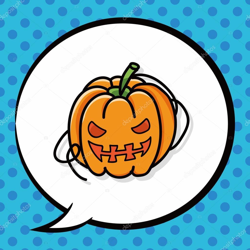 Pumpkin doodle, speech bubble — Stock Vector © wenchiawang #90128022.