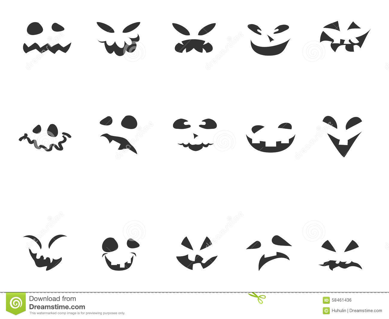 Doodle Pumpkin Carving Face Set Stock Vector.